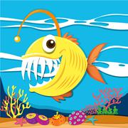 Fish with sharp teeth underwater Stock Illustration