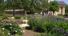 Flower gardens in the foreground of Arlington House, Arlington National Stock Footage