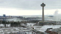 City of Niagara Falls Ontario Skylon and Falls Stock Footage