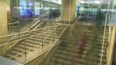 Movement of crowd underground crossing timelapse Stock Footage