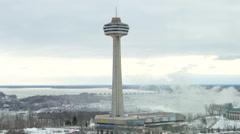City of Niagara Falls Ontario Skylon Tower Stock Footage