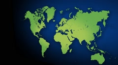 World Map with 3D Camera  Stock Footage