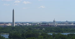 Wide view from Washington Monument to US Capitol Building, Smithsonian Castle in Stock Footage