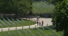 People walking through Arlington National Cemetery, seen from Arlington House. - stock footage