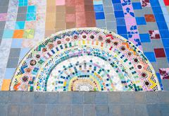 Half circle ceramic tile on - stock photo