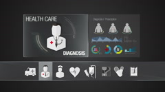 Diagnosis icon for Health Care contents. Digital display application. - stock footage