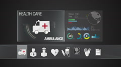 Ambulance icon for Health Care contents. Digital display application. - stock footage