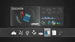 Library icon for Education contents.Digital Education display application. - stock footage