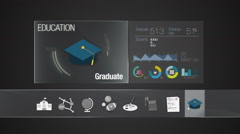 Graduate icon for Education contents.Digital Education display application. - stock footage