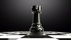 Put the chess piece on a chessboard, ending rock, animation. Stock Footage