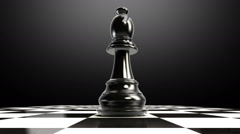 Put the chess piece on a chessboard, ending bishop, animation. - stock footage