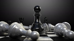 Put the pawn on a chessboard, and chess piece fall down animation. Stock Footage
