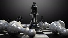 Put the bishop on a chessboard, and chess piece fall down animation. Stock Footage