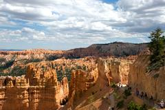 Bryce Canyon National Park Hoodoos Tourists Utah - stock photo