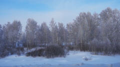 winter landscape at sunset from the train window - stock footage
