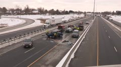 Car crash and major accident scene with pickup truck on highway - stock footage