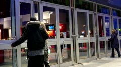 One side of movie theater entrance Stock Footage