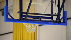 Basket in basketball during a training session with ball scoring and failing Stock Footage