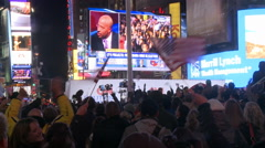 Times Square Crowd Celebrates after 2012 Election Night Stock Footage