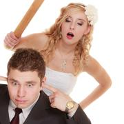 Wedding couple having argument conflict, bad relationships Stock Photos