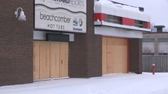 Stock Video Footage of closed and boarded up stores as recession and economy worsens