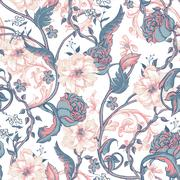Vintage seamless pattern with blooming magnolias, roses and twig - stock illustration