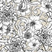 Monochrome seamless pattern with blooming peony - stock illustration