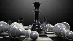 Put the queen on a chessboard, and chess piece fall down animation. Stock Footage