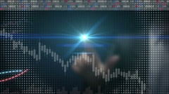 Businessman touching  Various animated Stock Market graphs. increase line. Stock Footage