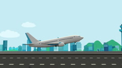 Airplane take off on a runway with airport in the background. travel.world tour Stock Footage