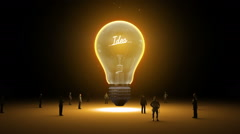 Typo 'Idea' in light bulb and surrounded businessmen, idea concept version 2 Stock Footage
