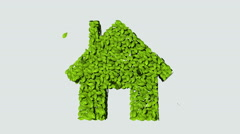 Eco green House made from leaves. (Included alpha) Stock Footage