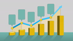 Stock Video Footage of Pile up Golden coins expressed growth profits, and increase infographic box.2