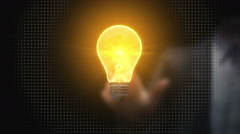 Businessman touching idea light bulb,creative communication technology concept - stock footage