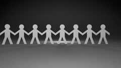 Team of paper dolls people holding hands and stand in a line(included alpha) Stock Footage