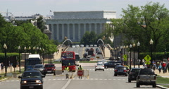 Lincoln Memorial with Arlington Memorial Bridge and traffic in foreground. Shot Stock Footage