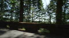 Left Rear Three Quarter view of a Driving Plate: Car traveling east on Oregon's Stock Footage