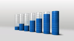 Increase economic graph. 3D circle Bar Chart 2.(included alpha) - stock footage