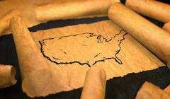 America Map Drawing Unfolding Old Paper Scroll 3D - stock illustration