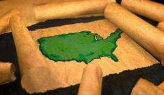 America Map Painting Unfolding Old Paper Scroll 3D - stock illustration