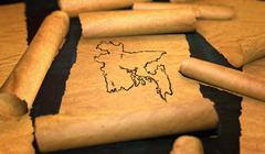 Bangladesh Map Drawing Unfolding Old Paper Scroll 3D Stock Illustration