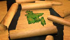 Bangladesh Map Painting Unfolding Old Paper Scroll 3D - stock illustration