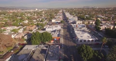 LOS ANGELES - Circa 2015: Aerial view of Melrose Avenue. 4K UHD. Stock Footage