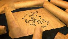 Greece Map Drawing Unfolding Old Paper Scroll 3D Stock Illustration
