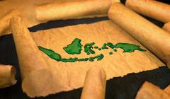 Indonesia Map Painting Unfolding Old Paper Scroll 3D - stock illustration