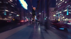Hectic POV walk Hollywood Blvd Walk of Fame at night 4K UHD Timelapse hyperlapse - stock footage