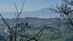 Mount cimone at the sunrise emilia romgna italy Stock Footage