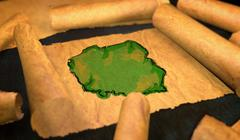 Poland Map Painting Unfolding Old Paper Scroll 3D - stock illustration