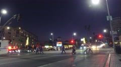Los Angeles Fire paramedics truck Hollywood Boulevard night emergency services Stock Footage