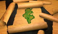 Tunisia Map Painting Unfolding Old Paper Scroll 3D - stock illustration